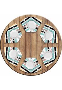 Jogo Americano Love Decor Para Mesa Redonda Wevans Geométrico Marble Kit Com 6 Pçs - Kanui