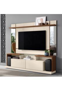 Rack Com Painel Para Tv Até 65 Polegadas Malibu Off White E Nature 200 Cm
