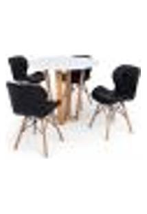 Conjunto Mesa De Jantar Lara 90Cm Branca Com 4 Cadeiras Eames Eiffel Slim - Preta