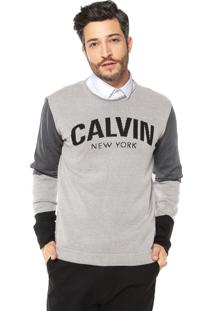Suéter Calvin Klein Jeans Tricot Logo Cinza