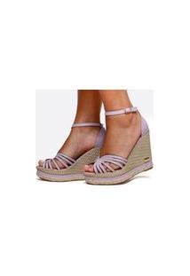 Sandália Salto Anabela Sb Shoes Ref.3275 Lilás