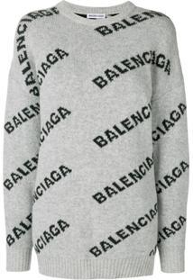 Balenciaga Suéter Com Logo - Cinza