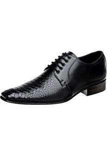Sapato Social Bigioni Couro Croco Preto