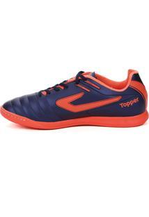 Tênis Futsal Topper Boleiro Indoor Azul Marinho/Coral