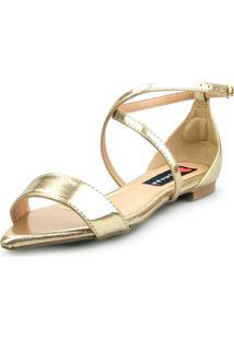 Sandalia Traseiro Love Shoes Rasteira Bico Folha Delicada Dourada