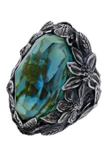 Lyly Erlandsson Silver And Blue Resin Winter Shell Ring - Azul