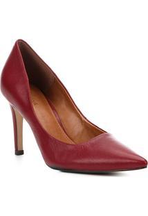 Scarpin Couro Shoestock Salto Alto Bico Fino - Feminino-Vermelho Escuro