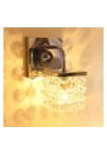 Lustre Luminária De Parede Arandela De Cristal Legítimo Com Botão Liga E Desliga Lado Esquerdo