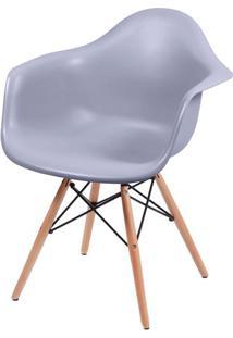 Cadeira Eames Com Braco Base Madeira Cinza Fosco - 43633 - Sun House