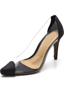 Sapato Scarpin Salto Alto Fino Glíter Preto Com Transparência