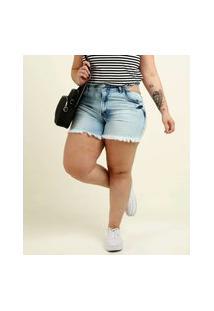 Short Plus Size Feminino Jeans Cut Out Razon