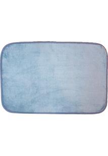 Tapete Para Banheiro Antiderrapante Flannel Azul Claro 60X40Cm