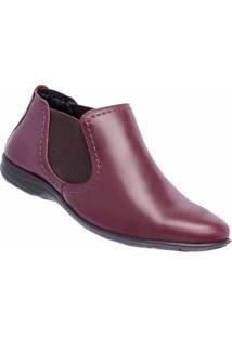 Bota Couro Cano Curto D&R Shoes Feminina - Feminino-Bordô