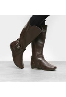 Bota Comfortflex Cano Alto Com Salto Embutido E Fivela Lateral Feminina - Feminino-Marrom
