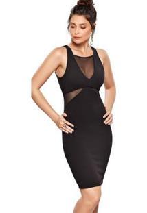 Vestido Modisch Crepe Decote V Geométrico Justo Transparência Sutil - Feminino-Preto