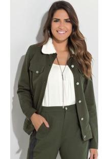 Jaqueta Quintess Verde Militar Com Pelos