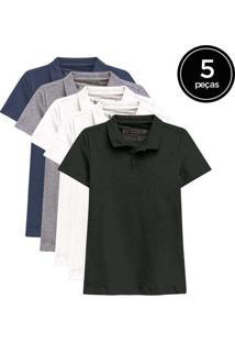 Kit De 5 Camisas Polo Femininas De Várias Cores Br