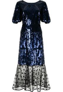 Markus Lupfer Sequin Mesh Panel Dress - Azul