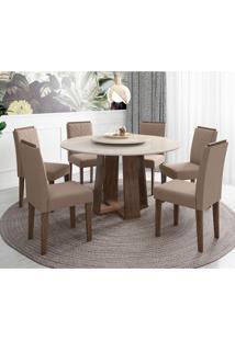 Conjunto De Mesa De Jantar Com Tampo Giratório Isabela Com 6 Cadeiras Estofada Amanda Veludo Branco E Marrom Claro