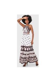 Vestido Lança Perfume Longo Floral Branco/Preto