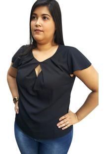 Blusa Crepe Linda D Fenda Princesa Preta (4062)