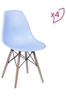 Or Design Jogo De Cadeiras Eames Dkr Azul & Madeira 4Pã§S