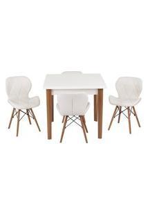 Conjunto Mesa De Jantar Luiza 80Cm Branca Com 4 Cadeiras Slim - Branco