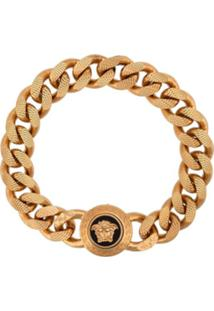 Versace Bracelete Medusa Com Corrente - Dourado
