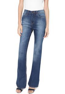 Calça Calvin Klein Jeans Flare Estonada Azul