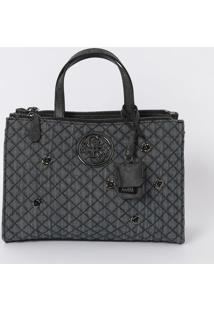 Bolsa Com Matelassê & Bag Charm - Azul Escuro & Chumbo