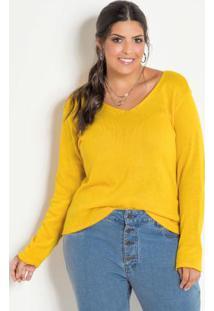 Blusa Tricô Decote V Amarela Plus Size