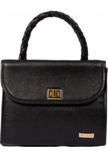 Bolsa Couribi Couro Legítimo Estruturada Handbag - Feminino-Preto