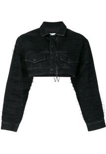 Off-White Jaqueta Jeans Cropped - Preto