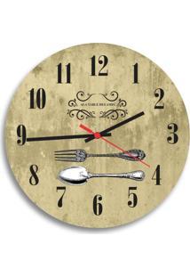 Relógio De Parede Decorativo Talheres Ouro Velho Único