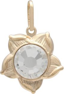 Pingente Prata Mil Flor Com Pedra Chaton Cristal - Kanui