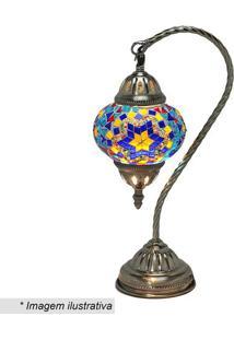 Abajur- Ouro Velho & Azul- 37,5X12,5X19,5Cm- Bivmabruk