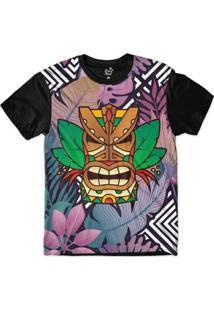 Camiseta Long Beach Totem Floral Guerreiro Sublimada Masculina - Masculino-Roxo