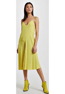 Vestido De Crepe Midi Canaletas Amarelo Yoko - 42