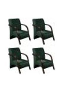 Conjunto De 4 Poltronas Sevilha Decorativa Braço De Madeira Cadeira Para Recepção, Sala Estar Tv Espera, Escritório, Vários Ambientes - Veludo Verde