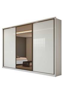 Guarda Roupa Casal C/ Espelho 3 Portas De Correr 6 Gavetas Spazio Glass Branco Lopas