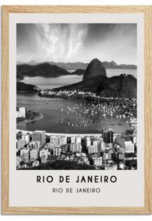 Quadro Oppen House 65X45Cm Cidades Rio De Janeiro Brasil Moldura Natural Com Vidro - Oppen House Decora