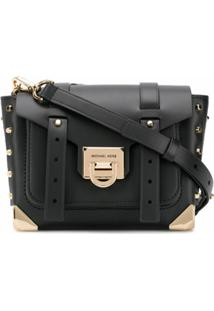Michael Kors Collection Bolsa Transversal Manhattan Com Logo - Preto