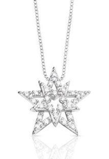 Pingente Estrela Ouro Branco E Diamantes