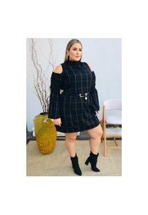 Vestido Feminino Mac-Lu Gola Alta Detalhe Aberto Ombro E Manga Longa Flare Linha Premium Plus Size Preto Black Maldivas