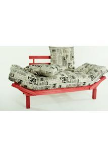 Sofá Cama Madeira Futon Country Comfort Acab. Stain Vermelho Com Almofada/Colchao Tecido T09 - 190X80X83 Cm