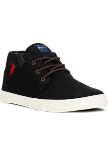 Tênis Casual Cano Alto Masculino Polo Shoes Long Canvas Preto
