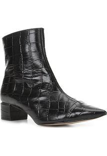 Bota Couro Shoestock Cano Curto Bico Fino Croco Feminina - Feminino-Preto