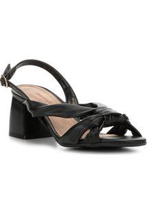 Sandália Shoestock Salto Bloco Nó Feminina - Feminino-Preto