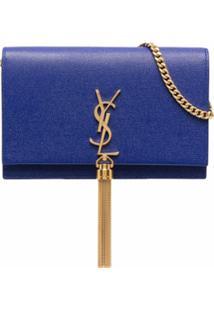 Saint Laurent Bolsa Transversal Kate Com Tassel - Azul
