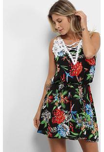 Vestido Curto Jin Renda Amarração Floral - Feminino-Preto+Vermelho
